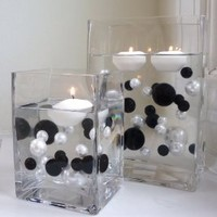 Amazon.com: Unique Elegant Vase Fillers 80Pc. Pack Jumbo Black and White Pearl Beads with Black & Sparkling Diamonds and Gems Accents ...... The Transparent Water Gels that are floating the Pearl Beads are sold separately.: Home & Kitchen