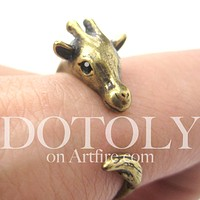 Mother Giraffe Animal Wrap Around Ring in Brass - Sizes 4 to 9 Available