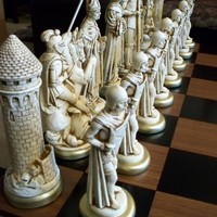 9 king// MEDIEVAL Chess Set antiqued FREE SHIPPING by largechess
