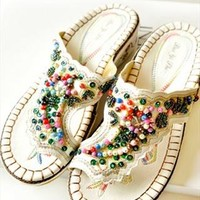 Folk Style Beaded Embroidered Floral Pattern Thong  Slippers from perfectmall