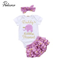 Newborn Baby Girls Outfit Clothes Sets Tops Bodysuit Short Sleeve Cotton Shorts Ruffles Clothing Baby Girl