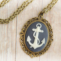 Anchor Jewelry, Nautical Necklace, Preppy, Marine, Boating
