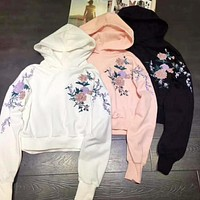 Women Fashion Embroidery Rose Flower Top Sweater Pullover Hoodie(3-Color)