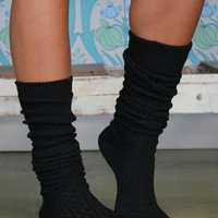 Cable Knit Boot Socks / Black