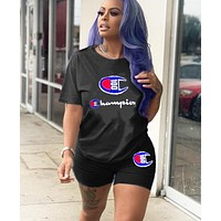 Champion Summer New Fashion Embroidery Letter Print Vest Sports And Leisure Top And Shorts Women Black