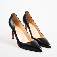 DCCK2 Christian Louboutin Black Leather Pigalle 100 Pointed Toe Pumps