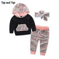 Toddler Baby Girls Floral Clothing Sets Long Sleeved Hooded Sweatshirts Tops Trousers Pants Bowknot Headband 3Pcs