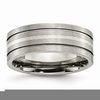Men's Titanium Grooved Sterling Silver Inlay Brushed Wedding Band Ring: RingSize: 13