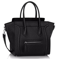 Womens Designer Grab Smile Faux Leather Celebrity Style Stylish Tote Handbags