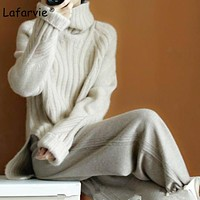 Lafarvie 2017Autumn Winter Women Sweaters And Pullover Turtleneck Loose Thick Knitting Cashmere Sweater Female Warm High Quality
