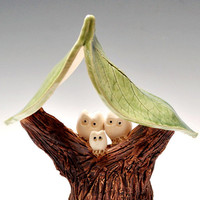 Family Tree Woodland Magic Series 3 Owls ceramic by OneClayBead