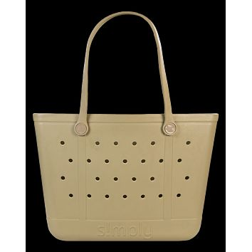 Simply Southern Large Solid Sepia Beach Waterproof Washable Tote Bag