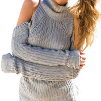 Cutout Shoulder Tutrleneck Knitted Sweater