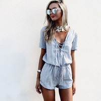 V-Neck Drawstring Lace Romper 10189
