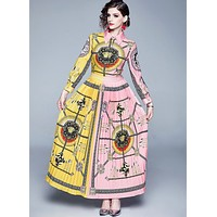 VERSACE Fashion Women Personality Print Long Sleeve Lapel Shirt Dress