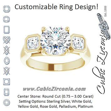 Cubic Zirconia Engagement Ring- The Alana Marie (Customizable 3-stone Cathedral Round Cut Design with Twin Asscher Cut Side Stones)