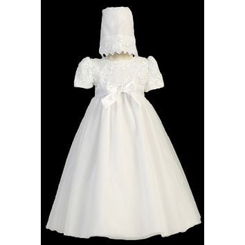 Baby Girls Tulle Baptism Dress w. Embroidered Satin Ribbon 0-18m
