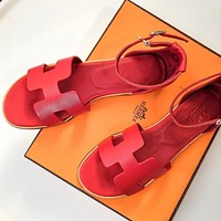 Hermes Trending Women Stylish Leather Sandals Shoes Red