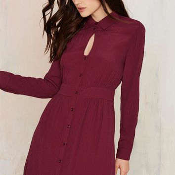 Keyhole In One Button Up Dress