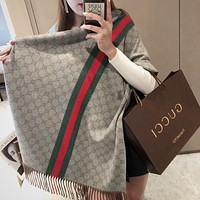 GG Women's Red and Green Striped Double G Long Shawl Scarf