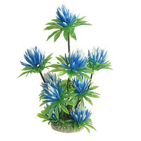 "Plastic Lily Plant Decor Sky Blue Green 10"" For Aquarium Fish Tank DI"