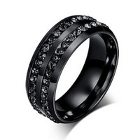 8mm luxury channel setting black CZ diamonds eternity wedding bands stainless steel his and hers promise rings anillos de boda
