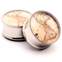 Antique Map Picture Plugs gauges - 00g, 1/2, 9/16, 5/8, 3/4, 7/8, 1 inch