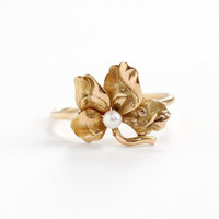Antique Art Nouveau 14k Rose Gold Flower & Seed Pearl Ring- Vintage 1900s Victorian Edwardian Stick Pin Conversion Fine Floral Jewelry