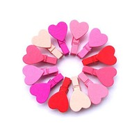 12PCS/BAG Mini Heart Love Wooden Clothes Photo Paper Peg Pin Clothespin Craft Clips Free Shipping