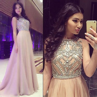 Robe Bal De Promo A Line Scoop Neck Beaded Crystal Long Sweep Train Chiffon Champagne Prom Dress Women Formal Party Gown