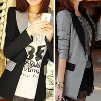 New Fashion Slim Women Casual Color Contrast OL Business Mid Long Blazer Suit