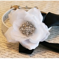 Black and White Floral dog collar Wedding accessory, Victorian