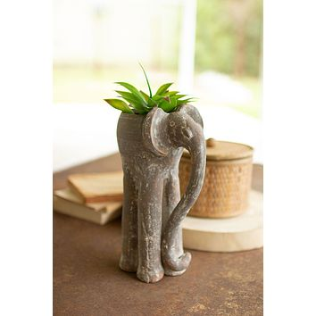 Tall Clay Elephant Planter - Set Of 2