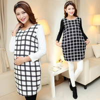 Plaid Maternity Dress Autumn Winter Clothes for Pregnant Women Plus Size Clothing for Pregnancy Wear Roupa Gestante Vestidos = 1946701188