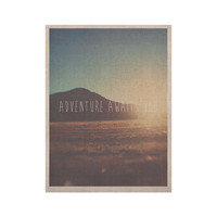 """Laura Evans """"Adventure Awaits You"""" Coastal Typography KESS Naturals Canvas (Frame not Included)"""