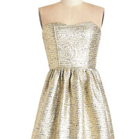 ModCloth Mid-length Strapless A-line Shimmer Nights Dress