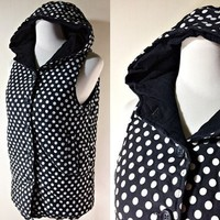 Polka Dot Quilt Vest: black and white, hoodie, winter clothes, small to medium