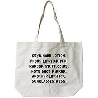 Women's Reusable Canvas Bag- Belongings Natural Canvas Tote Bag  18x14inch