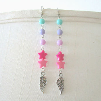 Magical Girl Star and Wing Earrings - Fairy kei, Cosplay