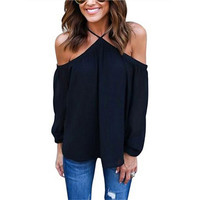 Women sexy chiffon tops off shoulder long shirts Blouse Spring Summer Casual Long Sleeve Club Party Blusas Tops Shirt