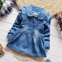 Trendy BibiCola 2018 baby girls coat spring autumn denim outerwear for girls new infant toddler polka dot denim jackets clothing AT_94_13