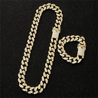20MM Prong Miami Curb Cuban Chain Link Necklaces Men's Full Rhinestone Clasp Iced Out Hip Hop Bracelets Set Bling Bling Chains