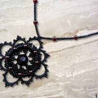 Tatted pendant - Gothic pendant - Lace jewelry - Tatted jewelry - Gothic jewelry - Lace pendant - Garnet pendant - Garnet jewelry - Beaded