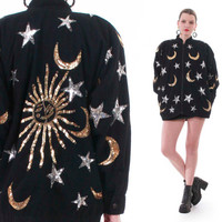 Sequin Moons Stars and Sun Black Denim Bomber Jacket 80s 90s Vintage Hipster Swag Unique OOAK Coat Unisex Clothing Size Medium Large