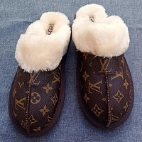 UGG x LV Louis vuitton Monogram Slippers Shoes Boots Coffee