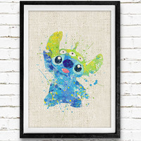 Stitch Poster, Lilo and Stitch Disney Watercolor Art Print, Aliens, Kids Decor, Wall Art, Home Decor, Gift, Not Framed, Buy 2 Get 1 Free!