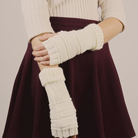 Ribbed Knit Arm Warmers - Ivory
