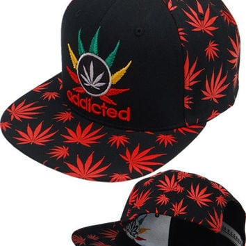 * Marihuana Snapback In Black/Red