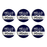 Moses Hello My Name Is Plastic Resin Button Set of 6
