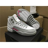 Air Jordan 12  white grey  Basketball Shoes 36-40